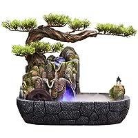 Fuentes de mesa cubierta de resina de rocalla cascada Feng Shui Corriente de agua de la fuente de escritorio de la decoración del ornamento Oficina Relajación Meditación fuente de escritorio (Color: B