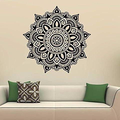 Bovake Mandala Blume Indische Schlafzimmer Wandabziehbild Kunst Aufkleber Mural Home Vinyl Familie(Colour J)