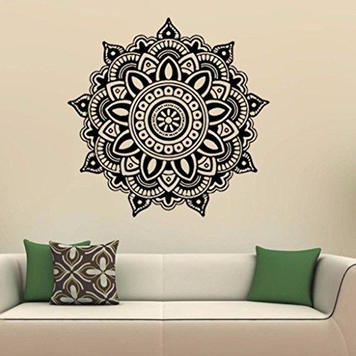 Bovake Mandala Blume Indische Schlafzimmer Wandabziehbild Kunst Aufkleber Mural Home Vinyl Familie(Colour J) Wort Familie Karten