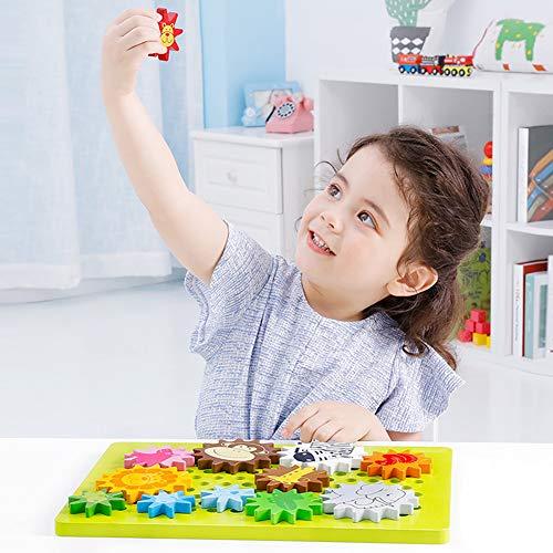 Onshine Drehbare Zahnräder aus Holz Spielzeug Zahnradspiel Lernspielzeug für Jungen und Mädchen (In Halloween Jungen Drehen Mädchen)