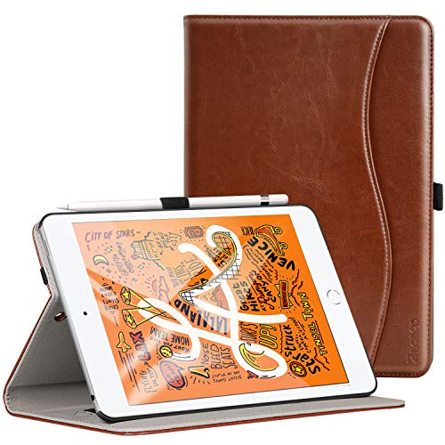Ztotop Cover per Nuovo iPad Mini 2019,Premio Pelle Affari 2019 iPad Mini 5 7.9 Pulgada Custodia Case,Auto Wake & Sleep,Documento Carta Slot,Multi-Angolo,Marrone