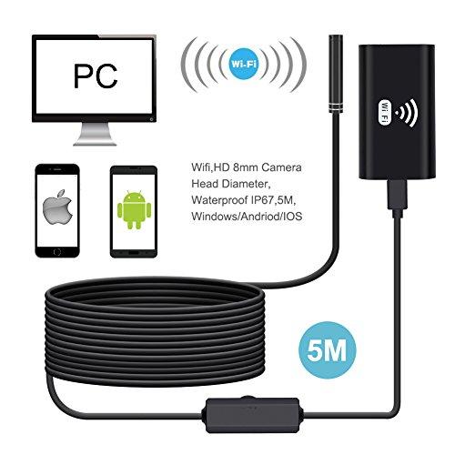 Preisvergleich Produktbild Endoskop Kamera 2MP 720p HD 8MM IP67 6 Einstellbare LEDs Inspektionskamera 5M für Android,  IOS Windows Smartphone iPhone von surmt
