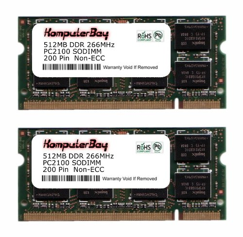Komputerbay 1GB (512MBx2) DDR SODIMM (200 pin) 266Mhz DDR266 PC2100 für Apple Mac Memory iBook G4 1.42GHz 14\ Super Drive (M9848LL/A) 172
