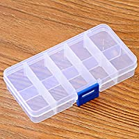 Yzki Clear Plastic Jewelry Box Organizer 10 Grids/15 Grids Storage Box Container Box Makeup Ring Earring Necklace Organizer Storage Case(10 Grids,Blue Buttons-10 grids)