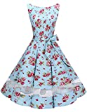 bridesmay 50s Retro Vintage Rockabilly Ärmelos Damen Partykleider Cocktailkleider Small Red Flower S