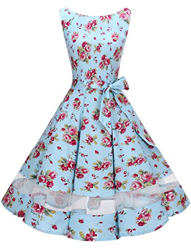 Bridesmay Robe Vintage Femme Années 50 Audrey Hepburn Rockabilly Swing sans Manche Small Red Flower S