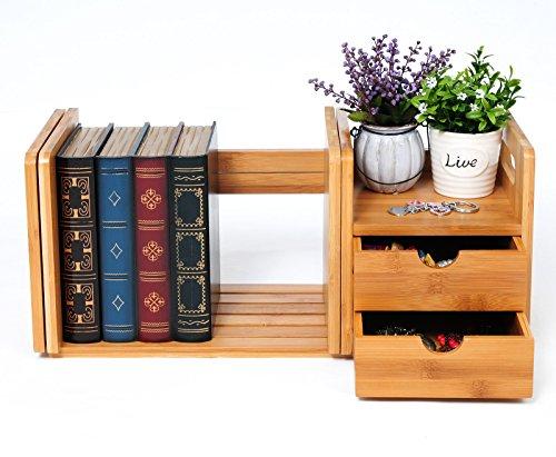 WOLTU RG9258br-a Bücherregal Schreibtisch Bambus Einstellbare Tischorganizer Schreibtischbox, Natur -