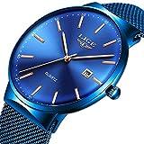 LIGE Ultra Delgado Minimalista Cuarzo Analógico Reloj Moda Azul Acero Inoxidable Fecha Relojes Deportes Impermeable Malla para Mujer Reloj