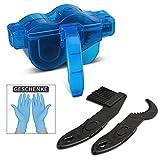 Fahrrad Kettenreinigungsgerät,Yochen Fahrrad Kettenreiniger mit Latex handschuhe,Bürstengang und Reinigungsbürste -Schnelles Sauberes Werkzeug für Alle Arten von Fahrrad Kettenreinigung Blau