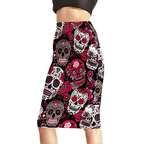 Skirts Rose Skull Evil 3D Skirts High Waist Package Hip Skirt
