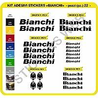0087Bianchi–Juego de 22pegatinas para bicicleta, Nero cod. 070