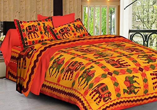 Dreamkraft Kantha Work Embroidery Hand Stitch Cotton King Size Jaipuri Bed Sheets (Bedsheet, 2 Pillow Covers)