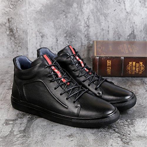 ZQ@QXAutunno e Inverno slittamento elevato Scarpe Casual Uomo Stivali in pelle e stivali di cashmere Black shoes