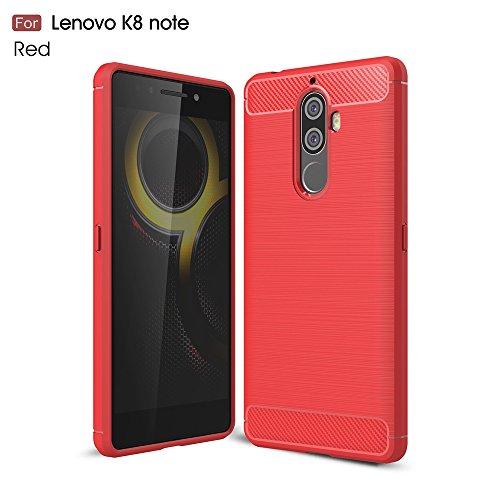 YHUISEN Lenovo K8 Note Case, Ultra Light Carbon Fiber Armor stoßfest Brushed Silikon Grip Case für Lenovo K8 Note ( Color : Black ) Red