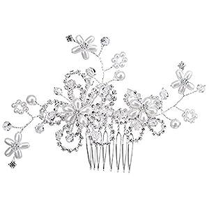 BiBeary Damen elegant Hochzeiten Kristall Simulierte Perlen Gross Blumes Manual Handarbeit Haarkamm Haarkämme Haarschmuck Silber-Ton
