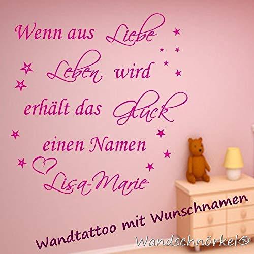 Wandschnörkel ® Wandtattoo Wandaufkleber Baby WENN AUS LIEBE Leben wird.Namen Geburtsdatum Spruch Baby Mädchen Junge