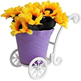 TiedRibbons Trolly Shaped Flower Pot With Artificial Sunflowers (17 Cm X 19 Cm) | Flower Pots For Garden Balcony | Flower Basket | Flower Pots For Garden | Flower Pots Decorative