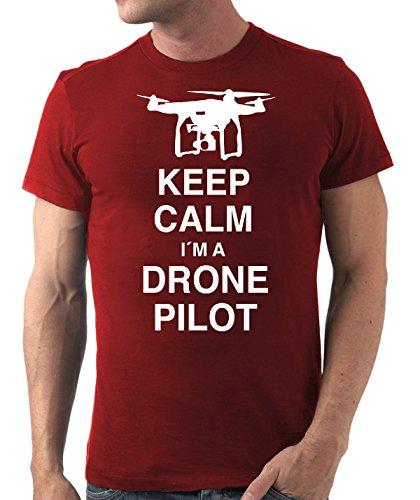 Stylotex Herren Slimfit T-Shirt Keep Calm I am a Drone Pilot, Größe:XL;Farbe:rot -