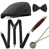 MMTX Herren Kostüm, 1920er Gatsby Gangster Zubehör 5er Set mit Cigar Pocket Watch Cap Hosenträger und Bogenknoten