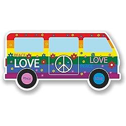 2 x 10cm Peace Love Dub Vinyl Sticker Symbol Hippy Camper Van VW Flower #5608