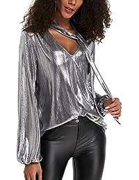 YOINS Sexy Oberteil Damen Glitzer Oberteile Wetlook Langarmshirt für Damen Tshirt V-Ausschnitt Clubwear Partywear Lederlook