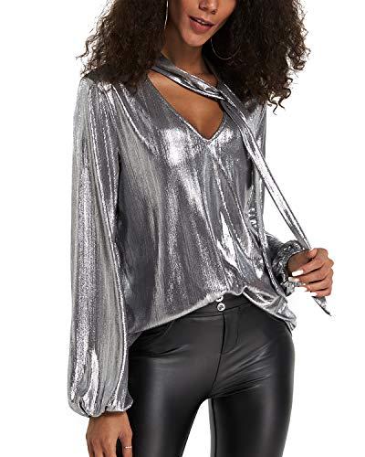 YOINS Sexy Oberteil Damen Glitzer Oberteile Wetlook Langarmshirt für Damen Tshirt V-Ausschnitt Clubwear Partywear Lederlook Silber L