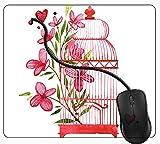 Juzijiang Tappetino Mouse da Gaming Gabbia per Uccelli Gabbia per Uccelli Fiore Rosa, Gomma Antiscivolo per Computer Portatile Mouse Pad