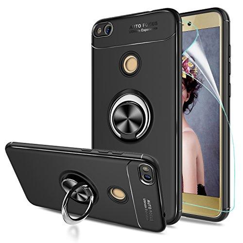 LeYi Hülle Huawei P8 Lite Handyhülle mit HD Folie Schutzfolie,Cover TPU Bumper 360 Grad Ring Stand Magnetische Slim Schutzhülle für Case Huawei P8 Lite 2017 Handy Hüllen JSZH Schwarz -