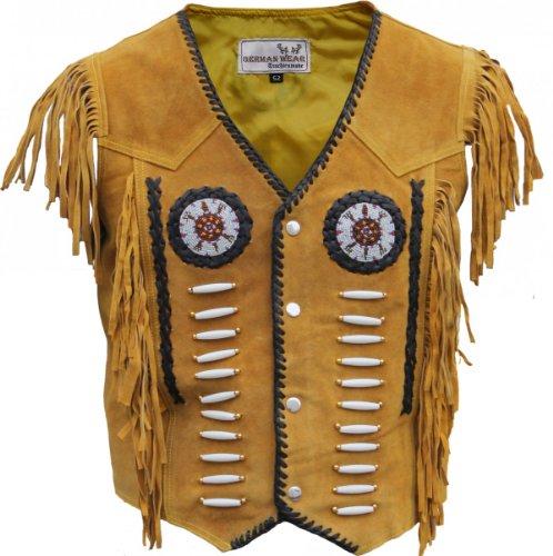 Western-Lederweste Indianer Tracht Weste Reiter Jacke Karneval Ocker, Größe:58