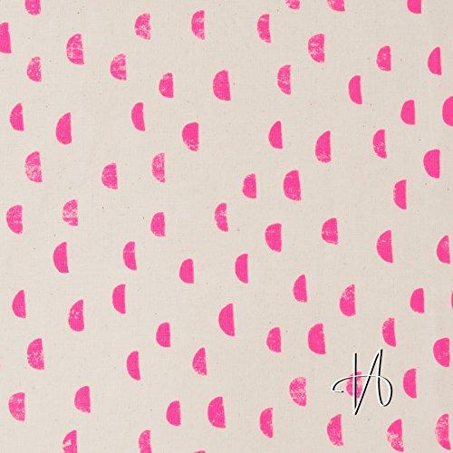 MIRABLAU DESIGN Stoffverkauf Baumwolle Nessel Halbmonde neon pink auf beige natur (4-160M), 0,5m
