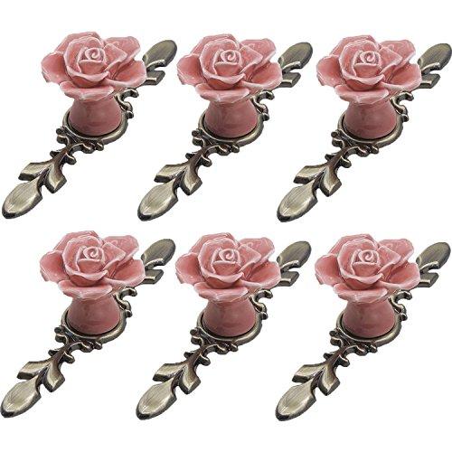 FBSHOP(TM) 6 Stück vintage floral Rose Form Keramik Türknauf/Knöpfe/Griff für Küche Schrank Schublade ,Vintage Kommode, Kleiderschrank & Baby Kid 's Kinder Möbel Dekor Vintage Küche Dekor