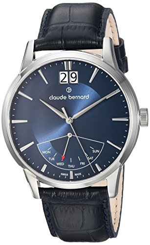 claude bernard Men's Analog Swiss-Quartz Watch with Leather Strap 41001 3 BUIN