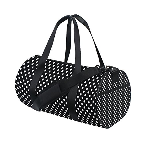 jstel weiß Polka Dot Schwarz Muster Sports Gym Tasche für Frauen und Herren Duffle Reisetasche (Dot Polka Tote Large)