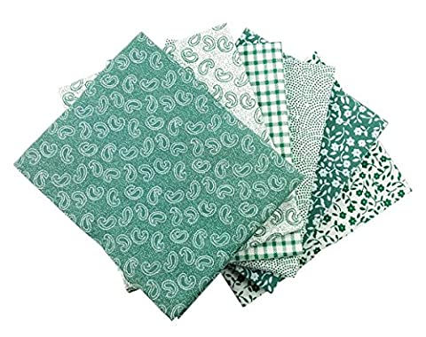 The Craft Cotton 18 x 22-Inch 6-Piece Fat Quarter Sage Green and White Printed Fabric Bundle