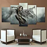 QJXX 5 Stück Wandkunst Bild Leinwanddrucke Abstraktes Foto Engel Bogenschießen Für Home Modern Dekoration Print Decor Für Wohnzimmer,30 * 50Cm*230 * 70Cm*230 * 80Cm*1