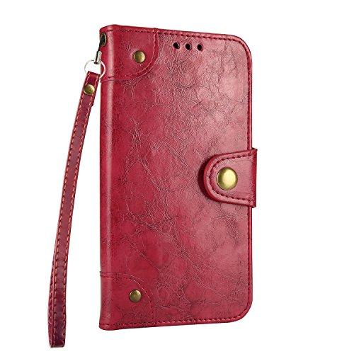 DENDICO Funda Galaxy S7 Edge, Magnetica Flip Cover con Función de Soporte, Cartera para Tarjetas para Samsung Galaxy S7 Edge - Rojo