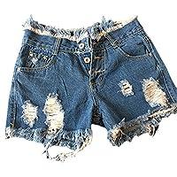 Beach Women Denim Shorts Trousers Broken Holes High Waist Slim Hollow Out Jeans Shorts