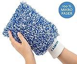 Carbigo Profi Waschhandschuh Auto - Extrem saugstarker Autowaschhandschuh - Idealer Mikrofaser Handschuh und Felgenhandschuh - Perfekt für Nassreinigung von Autos, Motorräder oder Haushalt (Blau)