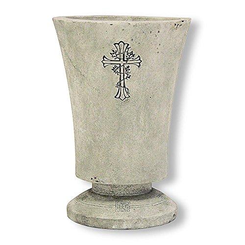 HC 930672commerciaux de Vase pour tombeau en polyrésine avec croix 13,8x 20,2cm Gris