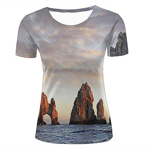 Damen Crewneck 3D Print T-Shirt sea Stacks in Oregon Creative Graphic Short Sleeve Tee Top Shirts L (Top Print Animal Folie)
