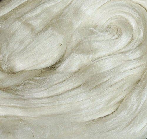 Undyed naturel soie de mûrier Toupie Blending feutrage de luxe Fibre - 28 Gram (1 oz)