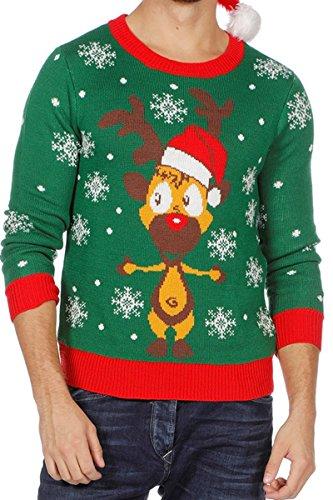 Weihnachts Pullover Rentier Ugly Christmas Sweater Pulli Weihnachten Grün S-XXL