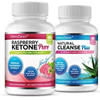 Raspberry Ketone and Natural Cleanse Detox Combo - UK Manufactured High Quality Supplement - Vegetarian & Vegan friendly – Top Selling Raspberry Ketone - Amazing Value Order Today from a Well Known Trusted Brand (60x Raspberry Ketone Pure + 60x Natural Cleanse Detox)