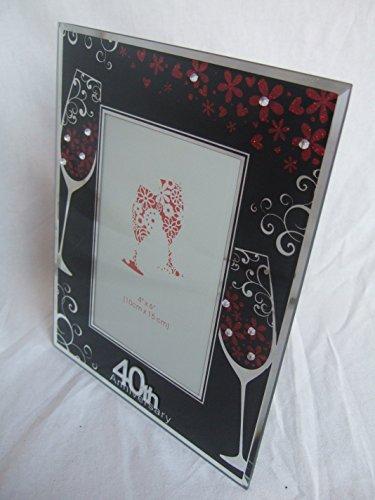 Anniversaire de rubis 40e anniversaire de mariage Sentimental Rouge et Noir Cadre photo 15,2 x 10,2 cm (15 x 10 cm) en verre