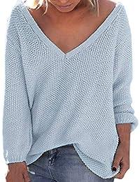 VJGOAL Mujeres Otoño Invierno Tallas Grandes de Moda Casual Color sólido Sexy V-Cuello Suéter Manga Larga Suelta Clásico Salvaje suéter Blusa
