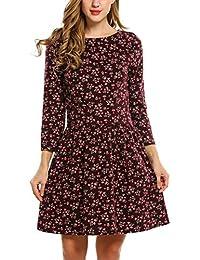 Meaneor Damen Kleid Blumenmuster Wickelkleid 3 4 Ärmel Langarm Blumen  Minikleid Vintage Retro Abendkleid Festlich 9954dfcee2