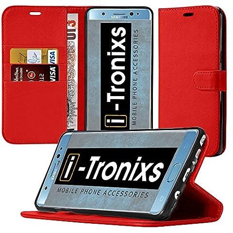 Nokia 6 hülle, Tasche, Telefonkasten ( rot) Abdeckung für Nokia 6 Gehäuse aus robuster Kohlefaser Buchstil PU Leder Geldbörse elegante klassische Flip Cover hülle Cover + von