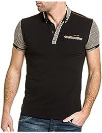 BLZ jeans - Polo homme noir coutures contrastées et zip