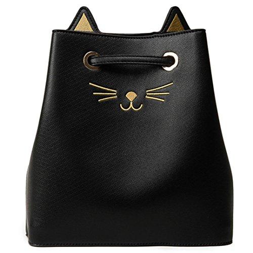 Donne Ragazze Cat Pu Pelle Spalla Borsa Coulisse Viaggio Grande Borsa di Kangrunmy Nero