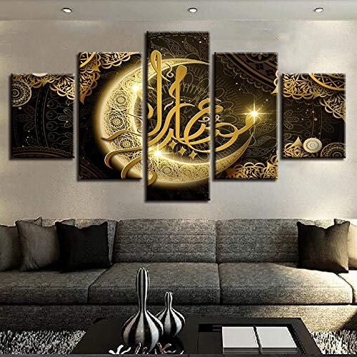 hyxwlh Dekor Wohnzimmer HD Gedruckt Poster 5 Stücke Islam Allah Der Koran Gold Mond Malerei Muslim Leinwand Bilder Wandkunst Rahmen